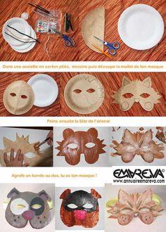 Atelier masques animaux, tigre, chat, chien. et même un masque soleil