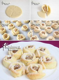 Apple Rose Cookies Recipe - Everything is there - Kochen und backen - Apple Rose Kekse Rezept - Alles ist da Apple Rose biscuit recipe - Chocolate Cookie Recipes, Easy Cookie Recipes, Dessert Recipes, Pancake Recipes, Cookie Desserts, Rose Cookies, Apple Cookies, Peanut Butter Cookie Recipe, Biscuit Recipe
