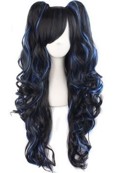 MapofBeauty Multi-color Lolita Long Curly Clip on Ponytails Cosplay Wig (Black/ Blue) Halloween Costume Ideas on a budget for women and girls Cosplay Hair, Cosplay Wigs, Anime Cosplay, Yuna Cosplay, Cosplay Costumes, Kawaii Hairstyles, Wig Hairstyles, Curly Haircuts, Curly Hair Care