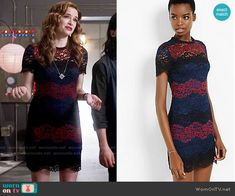36ab459b63f337 Caitlin s red and navy striped lace dress on The Flash. Outfit Details   https