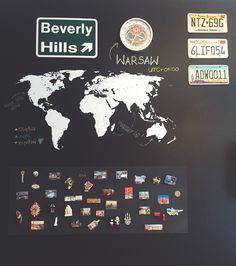 Wymarzona ściana: mapa, tablice rejestracyjne z USA, magnesy z miejsc, w których byłam // the wall of my dreams, the map, US license plate, magnets from places I was