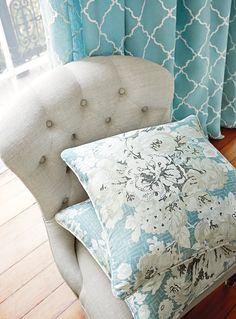 Draperies in Tunisia Trellis #fabric in #aqua. Middleton Chair by…