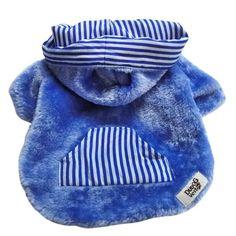 Casaco Forrado Dupla Face Pele Azul e Listrado Dudog Vest - MeuAmigoPet.com.br #petshop #cachorro #cão #meuamigopet