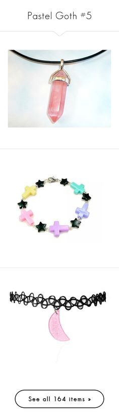 """Pastel Goth #5"" by ironically-a-strider21 ❤ liked on Polyvore featuring jewelry, necklaces, crystal jewelry, peach necklace, black necklace, black leather necklace, black crystal necklace, bracelets, multi colored bracelet and star jewelry"