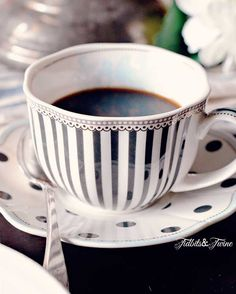 Black and white cup and saucer for coffee or tea! I Love Coffee, Coffee Break, Coffee Time, Morning Coffee, Tea Time, Coffee Cup, Black Coffee, Coffee With Friends, White Cottage