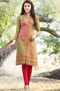Designer Party Wear Cotton Kurti with simple work...which you can wear in parties,functions, events and wedding occasion....