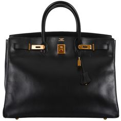 URBAN LEGEND HERMES BIRKIN BAG 40cm BLACK BOX W GOLD HARDWARE at... ❤ liked on Polyvore