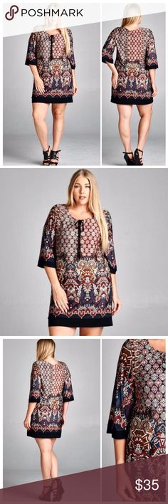 GORGEOUS CONTRAST BORDER DRESS Beautiful burgundies, blues & black in this elaborate print. Really pretty. Black borders and tassel tie. 96% polyester/4%. Made in USA. 🇺🇸 tla2 Dresses Mini