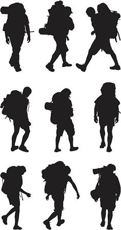 Backpackers Illustration Techniques, Book Illustration, Foto Do Goku, Camp Logo, Silhouette Png, Travel Logo, Backpacking, Hiking, Carving