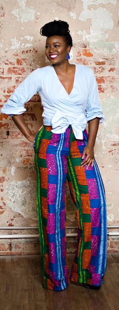 This African pant features a wax print that is an easy go-to for all season styling. Throw on these wide leg pants with your favorite crop top for a fun day look or a button down shirt and blazer for the office.   Ankara | Dutch wax | Kente | Kitenge | Dashiki | African print dress | African fashion | African women dresses | African prints | Nigerian style | Ghanaian fashion | Senegal fashion | Kenya fashion | Nigerian fashion (affiliate)