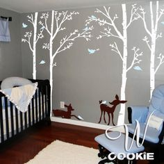 Birch Trees Birds and Fawns  Nursery Wall Decal by wcookie on Etsy, $118.00
