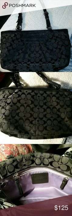 EUC Coach Classic C Black Tote W/Adjustable Straps This purse is in amazing condition...Silver hardware is mint, straps are adjustable and mint, the lavender inside is gorgeous and immaculate...it has 2 slip lock pockets on the outside otlf the purse, a fob key holder as well as one big zipper pocket inside with serial numbers and the Coach Logo, and also 2 multifunctional pockets.... Coach Bags Totes