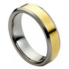 6mm Tungsten Ring Men Women Wedding Band Polished Shiny Gold Plated Center NEW