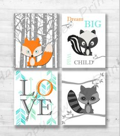 Woodland Creatures PrintCanvas Art Animals In The Woodfoxskunkraccoonorangegrey And Blue Wall Baby Printgender Neutral Decor 100