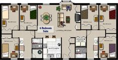 six bedroom apartment plans Two Bedroom Floor Plan, Apartment Floor Plans, Sims 4 Houses, Bedroom Apartment, House Plans, Flooring, How To Plan, Modern Room, Divider