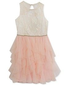 Rare Editions Girls' Blush Cascade Party Dress