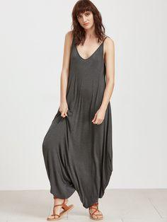 Grey+Double+V+Neck+Drop+Crotch+Cami+Jumpsuit+20.90