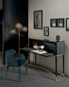 Tama Secrétaire by Carlo Colombo. Desk with flap door in black lacquered ash. Satin brass and satin brass lacquered aluminium details.