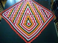 sevkut's Square and ripple blanket Crochet Square Patterns, Crochet Squares, Crochet Blanket Patterns, Baby Blanket Crochet, Crochet Stitches, Knitting Patterns, Fillet Crochet, Afghan Blanket, Geometric Designs