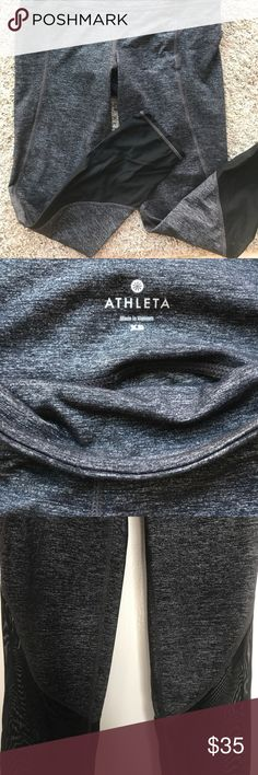 Athleta workout capris! Size XS. Shimmer black with mesh at ankles! Good condition. Athleta Pants Capris