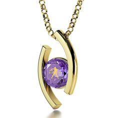 Libra Sign, 14k Gold Necklace, Swarovski