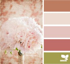 Vintage Bouquet- again loving these colors as a combination Vintage Colour Palette, Vintage Colors, Colour Schemes, Color Combos, Colour Palettes, Peony Colors, Color Harmony, Design Seeds, Color Swatches