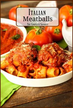 Seasoned ground beef and pork rolled into the perfect meatball with multiple cooking directions. Best Italian Recipes, Greek Recipes, Indian Food Recipes, Asian Recipes, Whole Food Recipes, Favorite Recipes, Yummy Pasta Recipes, Side Dish Recipes, Lunch Recipes