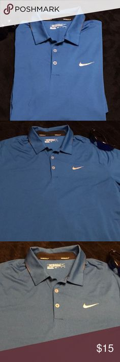 Men's Nike Golf Polo Top Blue w grey accents...great breathable fabric for guys out on the course. Beautiful condition. Nike Shirts Polos