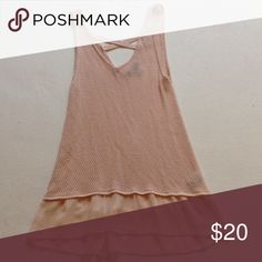 Nude knit tank top Nude knit tank top with chiffon at the bottom. Size m august silk Tops