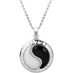 Sterling Silver White Jade and Black Onyx Yin Yang Necklace. (VSP0620) ($34) ❤ liked on Polyvore featuring jewelry, necklaces, black, sterling silver pendant, circle pendant necklace, jade pendant necklace, sterling silver pendant necklace and chain necklaces