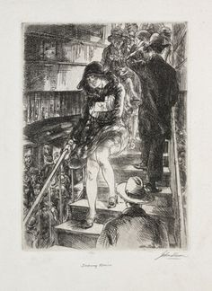 John Sloan - Subway Stairs, 1926. Etching