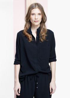 Hemd mit geripptem kragen - Blusen Große größen | MANGO Outlet Deutschland