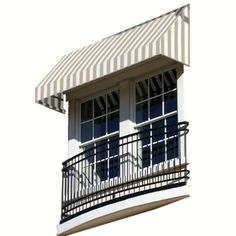 AWNTECH 3 ft. New Yorker Window/Entry Awning (16 in. H x 30 in. D) in Linen/White Stripe, Yellow