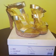 Gold T-strap Heels Gold T-strap Heels Bakers Shoes Heels