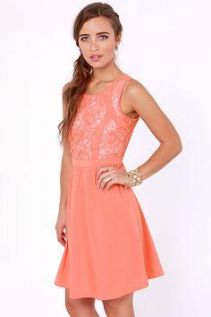 Cute Your Fancy Coral Lace Dress at LuLus.com!