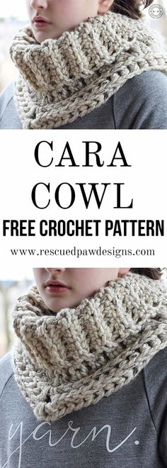 Easy Cowl Crochet Pattern - The Cara by Rescued Paw Designs. www.rescuedpawdesigns.com