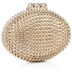 Christian Louboutin Mina Spikes Clutch ❤ liked on Polyvore featuring bags, handbags, clutches, purses, bolsas, gold, new arrivals, man bag, leather hand bags and christian louboutin handbags