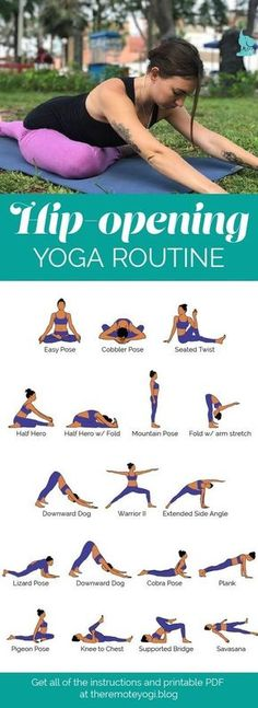 Hip Opening Yoga Flow Sequence PDF - the remote yogi Hip-Opening Yoga Routine. This yoga flow is designed to gently open the hips and release pain in the lower back. Get the free PDF Hip Opening Yoga Flow Sequence PDF Yoga Fitness, Fitness Workouts, Fitness Tips, Health Fitness, Trainer Fitness, Fitness Routines, Fitness Sport, Fitness Equipment, Muscle Fitness