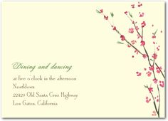 Cherry Showers - Signature Ecru Wedding Reception Cards - Petite Alma - Emerald - Green : Front