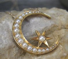 Victorian Moon & Star Seed Pearl Pendant 14k Necklace, Shop Rubylane.com