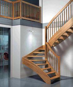 Escalier demi-tournant / marche en bois / à limon latéral / sans contremarche ESPERIA PIGALLE Mobirolo