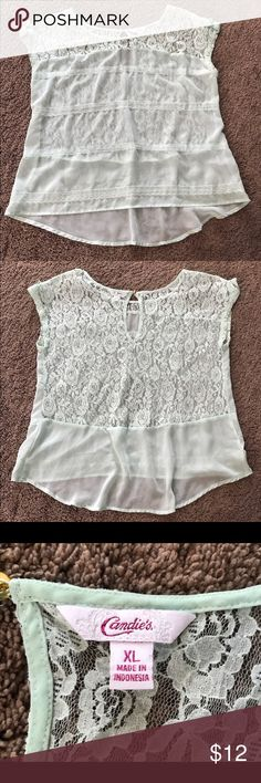 Sheer Lace Mint Candie's Top Sheer mint Candie's top with floral lace back. SO cute on. Really nice loose fit, slightly longer in back. Worn twice, in great condition. No trades. Comment with questions :) Candie's Tops Blouses