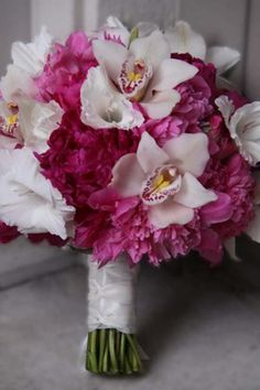 Bouquet orchids and peonies
