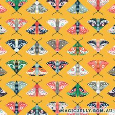 Flutter design in yellow, part of the Lilium collection, by Magic Jelly on Spoonflower Surface Design, Custom Fabric, Spoonflower, Jelly, Gift Wrapping, Magic, Quilts, Patterns, Wallpaper