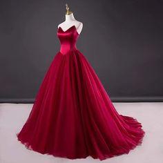 Strapless Prom Dresses, V Neck Prom Dresses, Red Wedding Dresses, Tulle Prom Dress, Cheap Prom Dresses, Evening Dresses, Gown Wedding, Tulle Wedding, Prom Dresses Dark Red