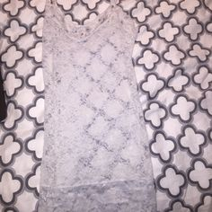 White lace floral slip with rhinestone collar. White lace slip with floral pattern and rhinestones on collar. Active Intimates & Sleepwear Chemises & Slips