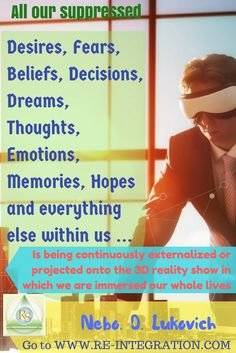 Want to #DefineYourReality Like a Pro? Use Projection of Your Fears, Dreams, Memories, Thoughts, Decisions. Don't wonder how, click the image below!  Did it empower you? Use this as your wake up call everyday by pinning this post at   Learn more about your, mine, his and her reality at www.re-integration.com