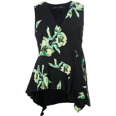 Proenza Schouler sleeveless floral print top ($1,010) via Polyvore featuring tops, black, low v neck tops, floral print tops, proenza schouler, floral silk top and asymmetrical hem top