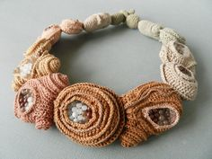 Crochet necklace ( cotton, fabric, glass beads). Lidia Puica 2013