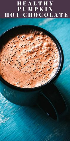 Healthy Pumpkin Hot Chocolate Recipe (Vegan, Gluten-Free) This super creamy and delicious Healthy Hot Chocolate Recipe with Pumpkin is like pumpkin pie in a cup! If you're in need of some cozy comfort with a big dash of flavor, look no further! Pumpkin Hot Chocolate Recipe, Healthy Hot Chocolate, Hot Chocolate Recipes, Chocolate Chocolate, Healthy Drinks, Yummy Drinks, Healthy Food, Fall Recipes, Vegan Recipes